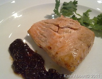 Gently poached salmon served with fig and raisin chutney